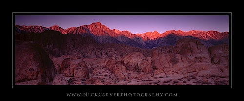 Sunrise on the Sierra Nevada Mountains from the Alabama Hills Recreation Area