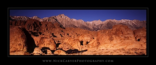 Sierra Nevada Mountains over the Alabama Hills Recreation Area