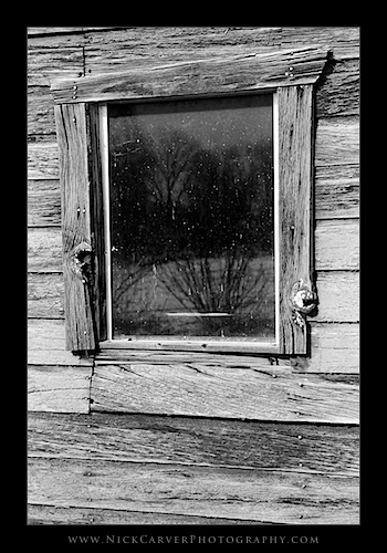 Reflections in old barn window, Utah - Ilford Delta 100 Film