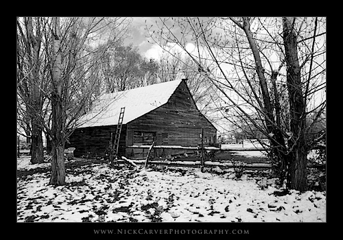 Snow on an old barn in Utah - Ilford Delta 100 Film