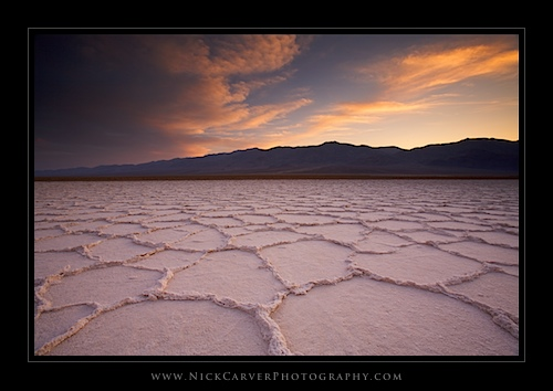 Salt Flats at sunset in Death Valley National Park, CA