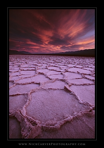 Badwater Basin at sunset in Death Valley National Park, CA