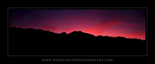Sunset over the Sierra Nevada Mountains