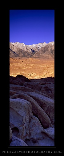 Sunrise on the Eastern Sierra Nevada Mountains from the Alabama Hills Recreation Area