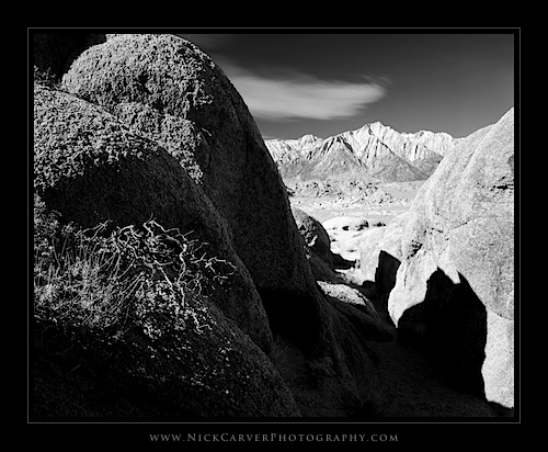 Lone Pine Peak and Granite Boulders in the Alabama Hills Recreation Area
