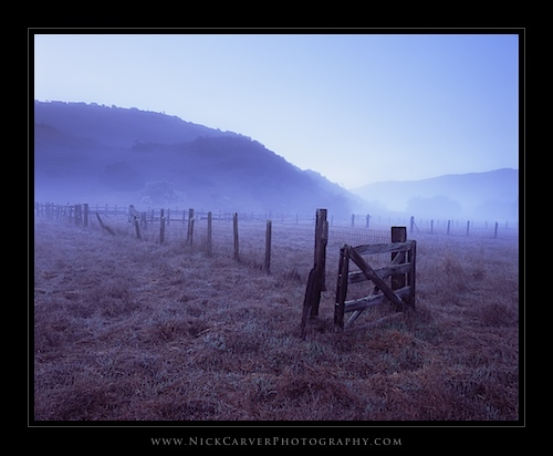Fence in fog - Aliso & Woods Canyons Wilderness Park, Orange County, CA