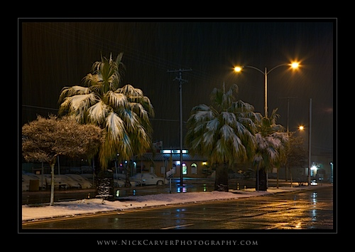 Snow on Palm Trees in Banning, CA