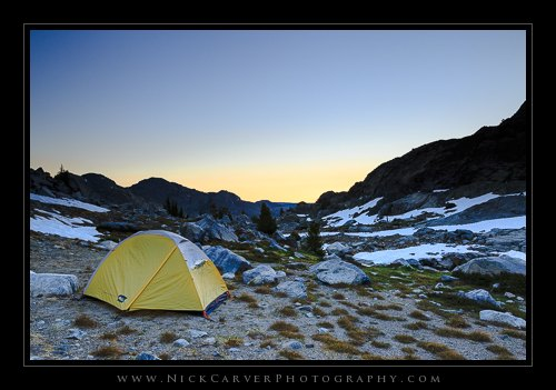 Camp along Iceberg Lake at sunrise