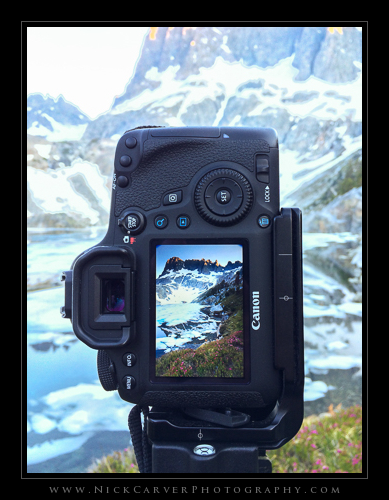 Framing up a shot at Iceberg Lake with Canon EOS 6D DSLR