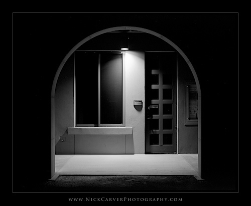 Photo a Day Challenge: Day 5 - Doorway at Night on Ilford Delta 100 Film