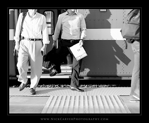 Photo a Day Challenge: Day 8 - Commuters Exiting Train on Ilford Delta 100 Film