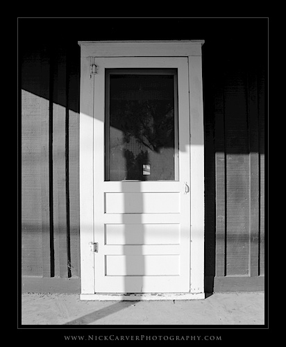 Photo a Day Challenge: Day 17 - Morning Shadows on Door on Ilford Delta 100 Film