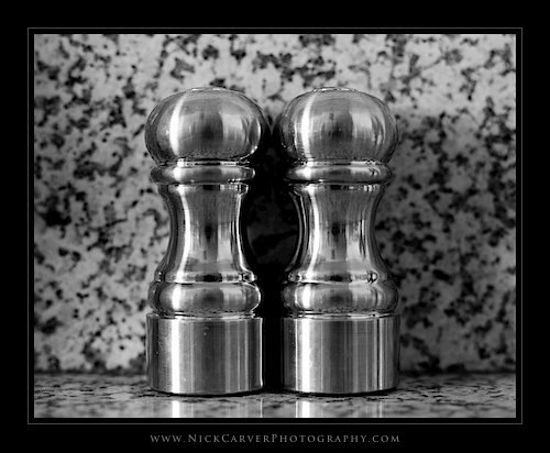 Photo a Day Challenge: Day 19 - Salt and Pepper Shakers on Ilford Delta 100 film