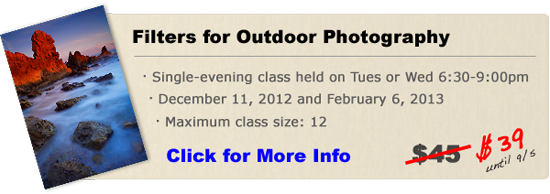 Filters for Outdoor Photography class in Orange County