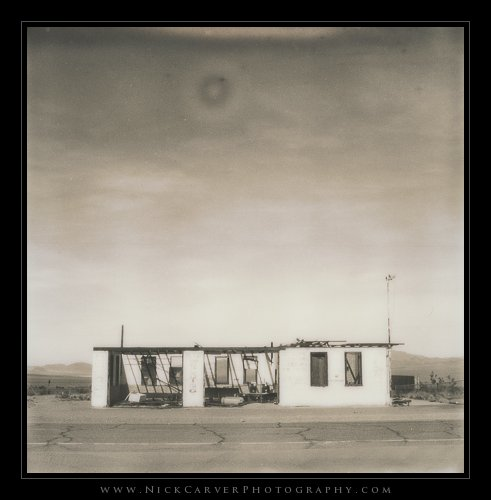 Route 66 in Ludlow, CA on Polaroid Instant Film