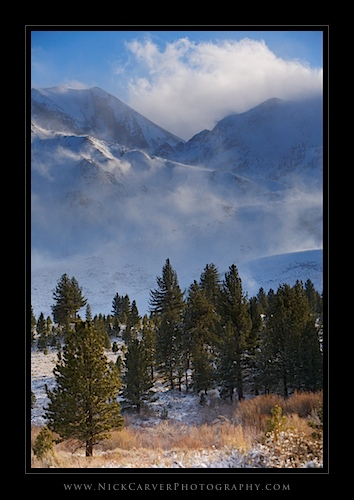 Snow and wind near Mammoth Lakes, CA