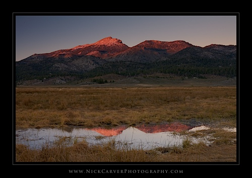 Monache Meadow and Olancha Peak at sunset