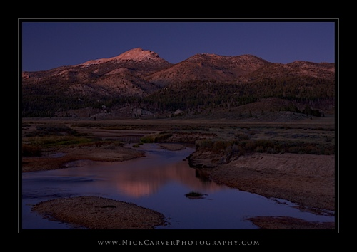 Monache Meadow and Olancha Peak at twilight